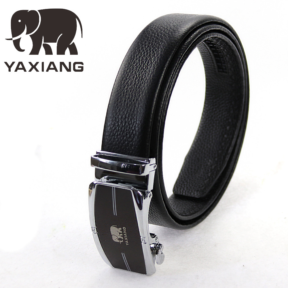 [YAXIANG]Mens Genuine Leather Belt Jeans Strap Automatic Buckle Black Belts For Male Gift freeshipping