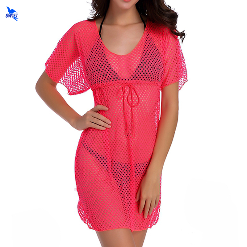 2019 Tunic Sexy Beach Dresses Women Transparent Fishnet Crochet Mesh Bikini Cover Up Swimwear Summer Dress Swimsuit Bathing Suit