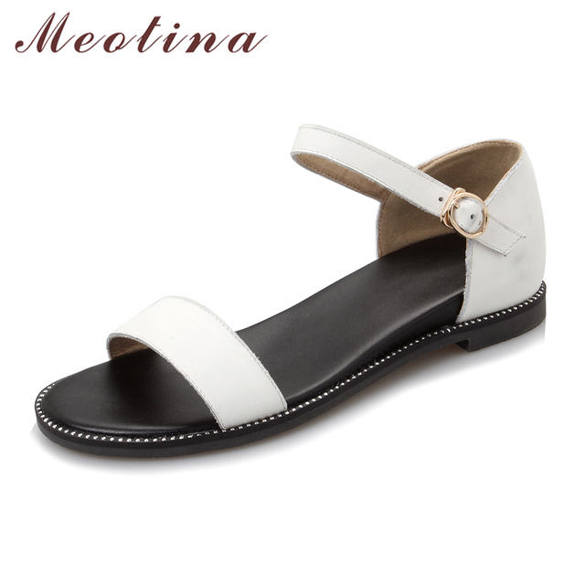 Meotina Women Sandals Genuine Leather Shoes Flat Sandals High Quality Comfort Real Leather Sandals White Black Large Size 42 43