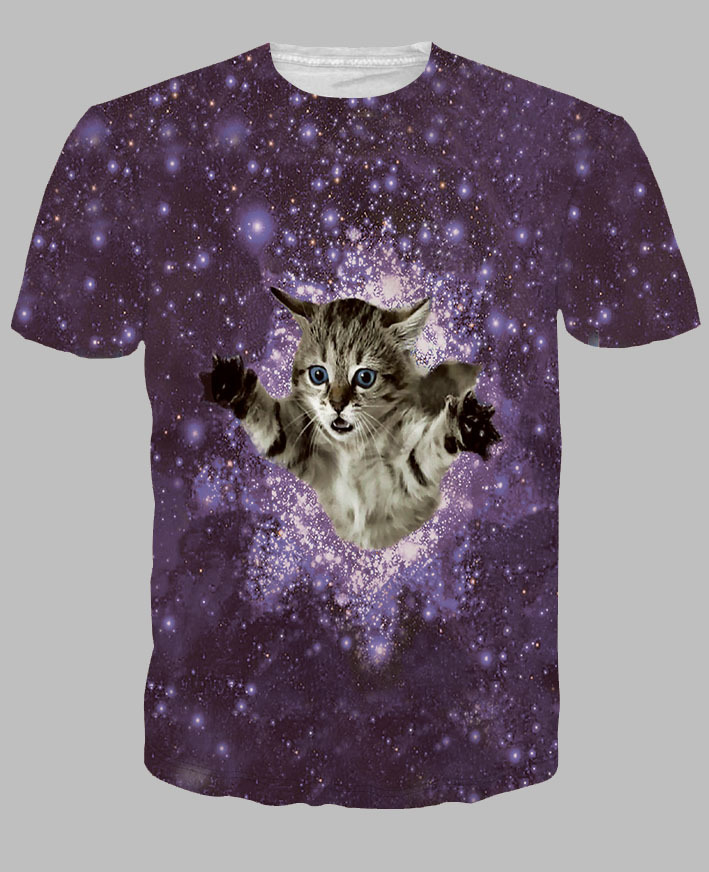 Hot Creative Disco Kitten Printed 3D T-shirt Hd Funny Clothes Men/Women Summer Fashion Short Sleeve Tops Tees.Free Shipping