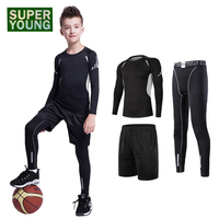 Kids Running Jogging Suits Children Sports Shirt Compression Gym Wear Training Fitness Outdoor Tights Boys Clothing Clothes Sets