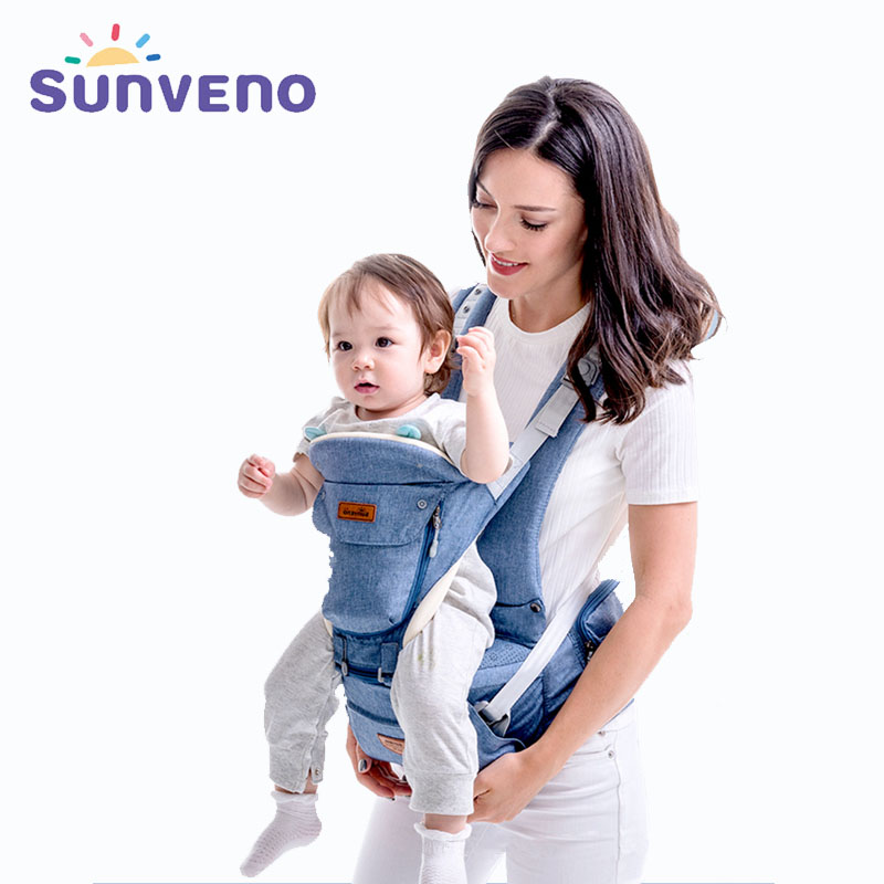 Sunveno Original New Ergonomic Baby Carrier Breathable Infant Backpack Stool Sling Hipseat Newborn Heaps Baby Kangaroo 20kg Wrap breathable ergonomic carrier backpack portable infant baby carrier heaps with sucks pad baby sling carrier wrap for newborn