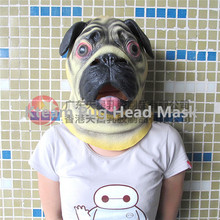 Free Shipping Party Cosplay New Latex Pug Mask lovely Dog Halloween Party Carnival Mask Cosplay Unisex Animal Full Head Mask