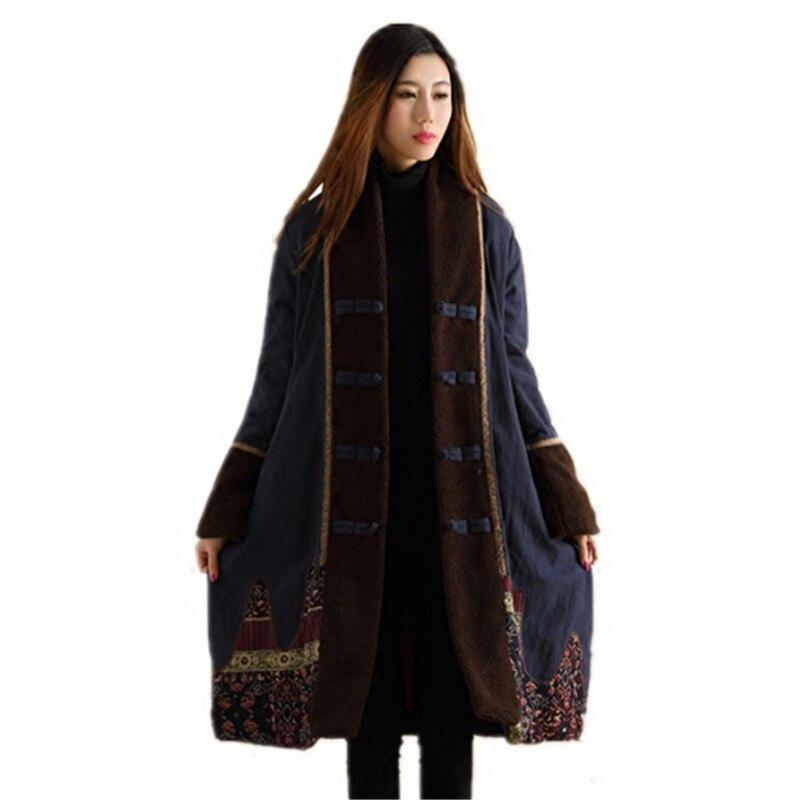 Ethnic Trench Coat Women Winter Jacket Wadded Long Jacket Chinese Winter Coat Autumn Overcoat Kaban Dames