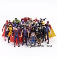 Marvel DC Comics Super Heroes Thanos Iron Man Captain America Black Panther Superman Wolverine PVC Action Figures Toys 24pcs/set