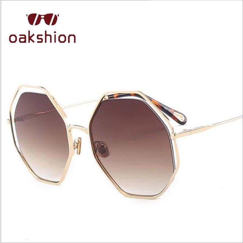 Oakshion Designer Women Vintage Polygon Sunglasses Female Clear Lens Oversized Frame UV400 Catwalk Shades Lunettes de soleil