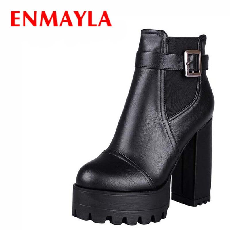 e8feb5f7e84b6 ENMAYLA czerwony czarny żółty platformy buty buty damskie New Big Size 43  okrągły nosek Zip wysokie obcasy botki punk rocka buty kobieta