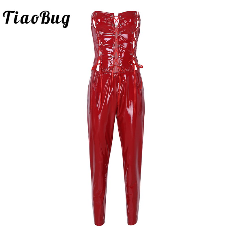 TiaoBug Women One-piece Wet Look PU Leather Strapless Bandage Bodysuit Erotic Jumpsuit Romper Club Hot Sexy Catsuit Playsuits
