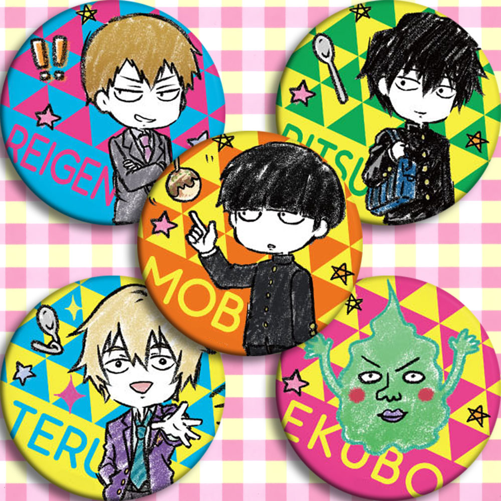 Anime mob psycho 100 REIGEN MOB Cosplay Badge Cartoon Collection Bags Badges For Backpacks Button Clothes Brooch Pins gifts