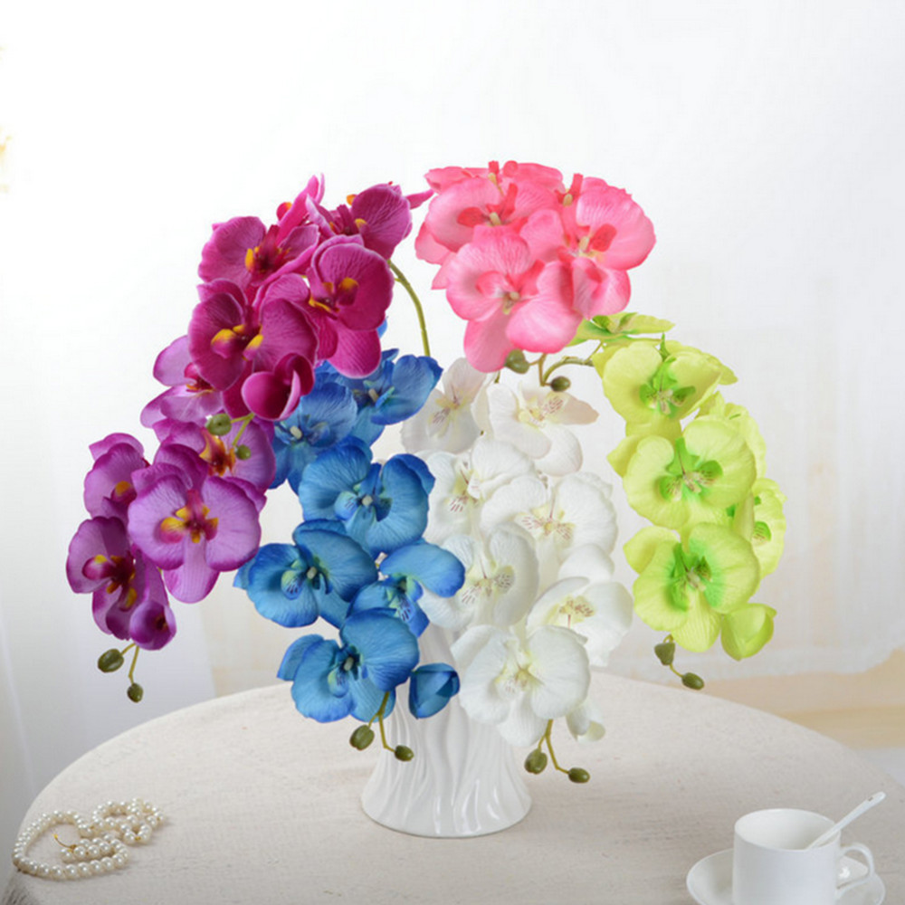7 heads artificial flowers bouquet wedding decoration butterfly orchid silk flower fake orchids flower home