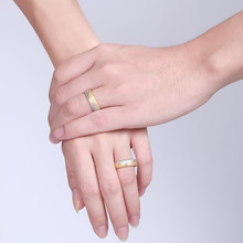 Couple Engagement Ring For Women Men Sand Blasted Gold-Color Stainless Steel