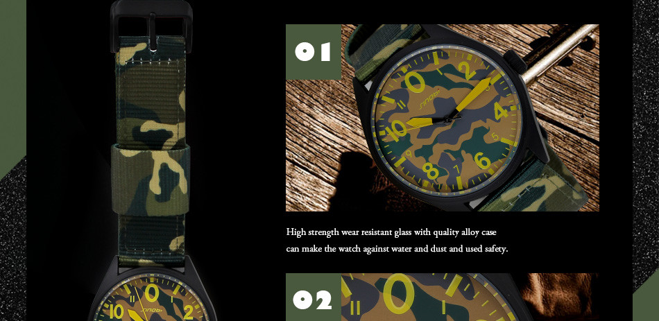 Sinobi Men Military Watch Camouflage Nylon Watch Band