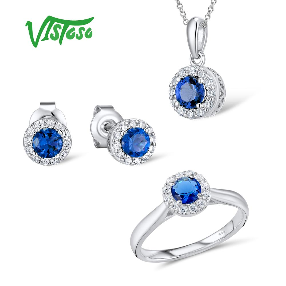 VISTOSO Jewelry Sets For Woman Blue Crystal Stones Jewelry Set Earrings Pendant Ring 925 Sterling Silver Fashion Fine Jewelry  VISTOSO Jewelry Sets For Woman Blue Crystal Stones Jewelry Set Earrings Pendant Ring 925 Sterling Silver Fashion Fine Jewelry