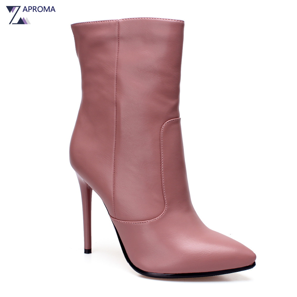 Confort Super High Heel Women Pointed Toe Ankle Boots Thin Heel Pink Female Winter Spring Zipper Shoes Designer Fashion Booties fashion embroided design spring winter casual women shoes zipper round toe square high heels women ankle booties free shipping