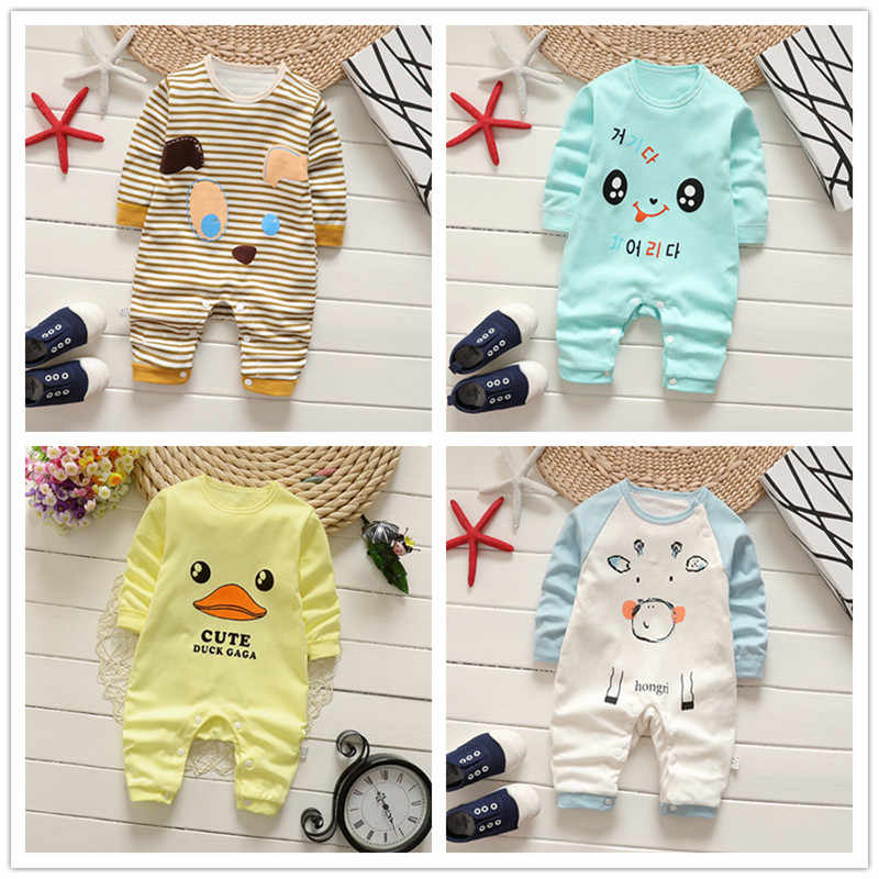 Combed Cotton Baby Jumpsuit Newborn Pure Cotton Hardy Baby Clothes Baby Long-sleeved Crawl Suit Baby Boy Christmas Clothes
