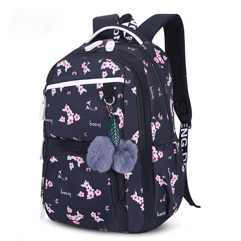 Beautiful flowers printing school backpack for kids big capacity children school bags for girls plush ball gift princess bag