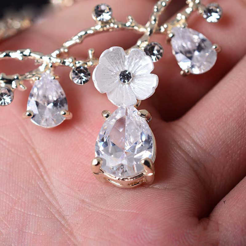 Wedding Jewellery Crystal Jewelry Sets Earrings Gold Flower Jewelery Fashion Women Party Necklace Earring Set Pendant