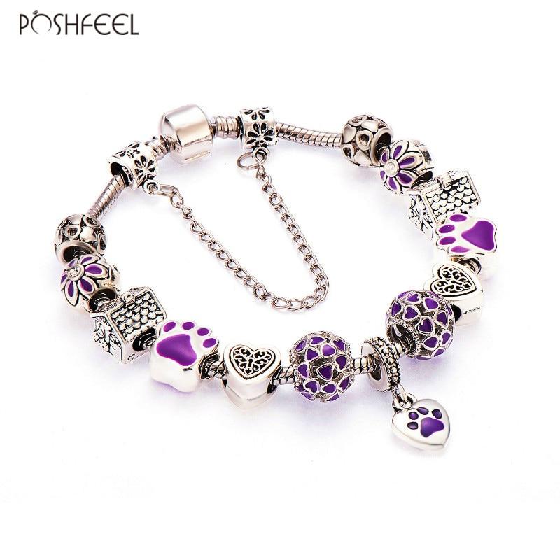 Poshfeel silverpläterad härlig hund lila hjärta charm armband för kvinnor mode Diy smycken Femme tillbehör Mbr170102