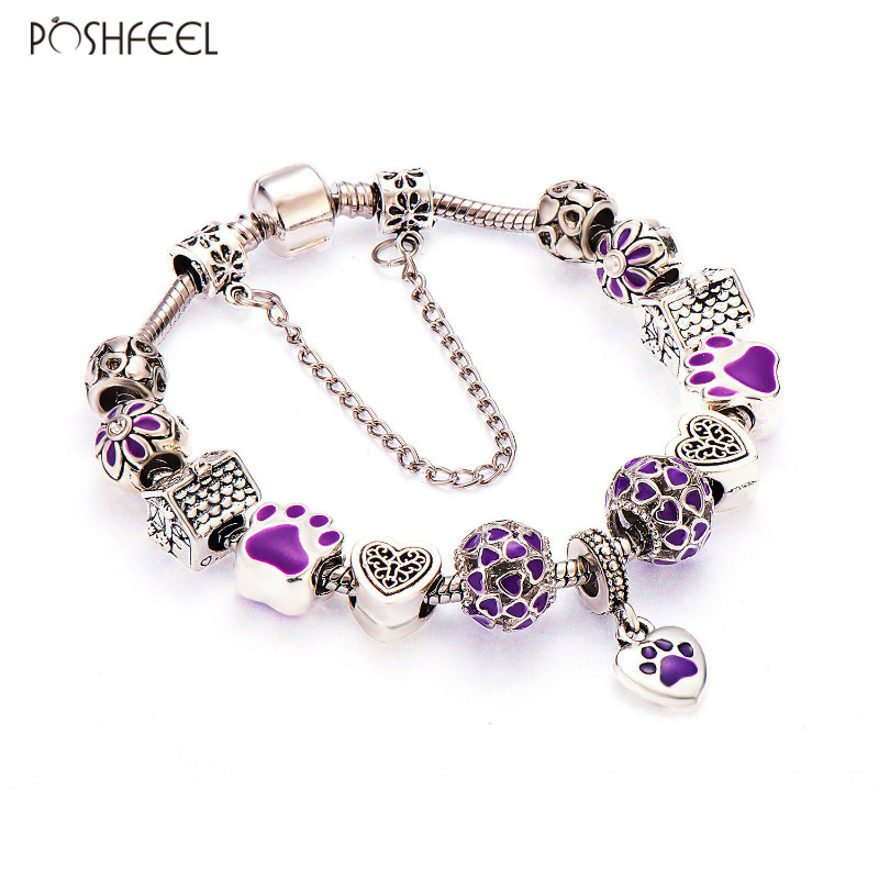Poshfeel Ασημένια Plated Lovely Dog Purple καρδιά γοητεία βραχιόλια για τις γυναίκες Fashion Diy Κοσμήματα Femme Αξεσουάρ Mbr170102