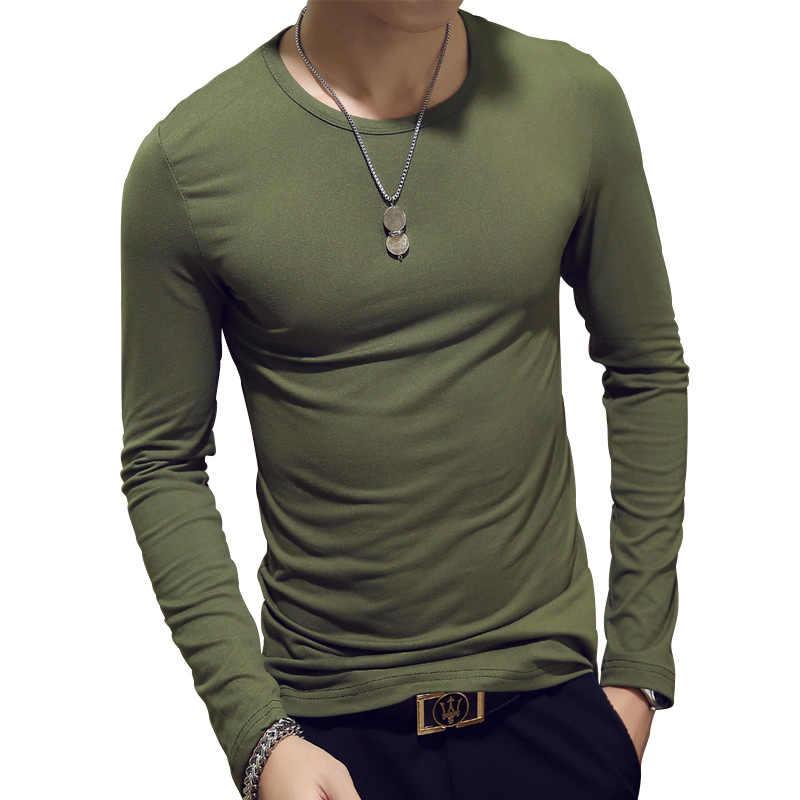 Moda manga longa primavera outono cultivar moralidade masculina conjuntos de t-shirts o-pescoço sólido poliéster verde cinza vermelho t camisa masculina