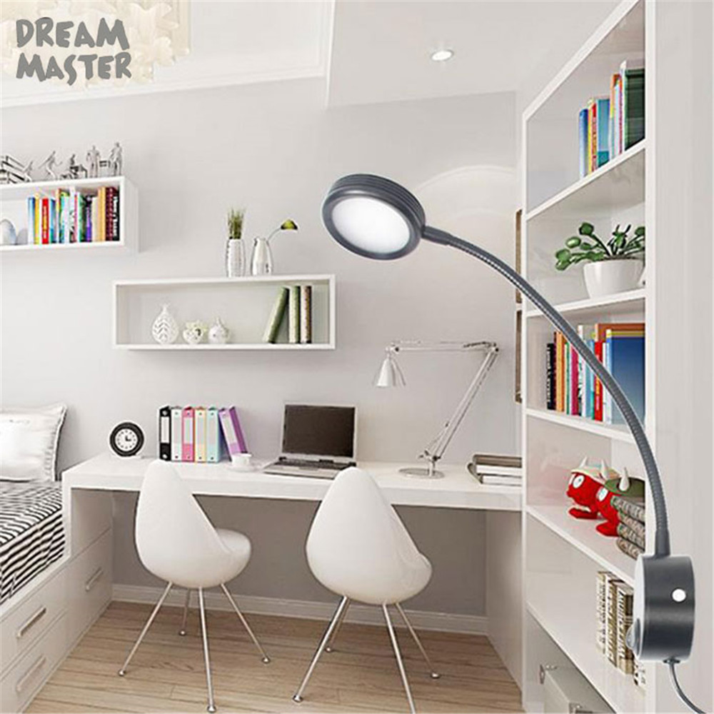 3W EU plug LED Hoses Wall light Flexible Home Hotel Bedside Reading Wall Light Modern black silver Aluminum night lamp modern fashion luxury hotel retro wall light led 3w 200lm ac100 240v firm hose 360mm flexible easy install comfortable light