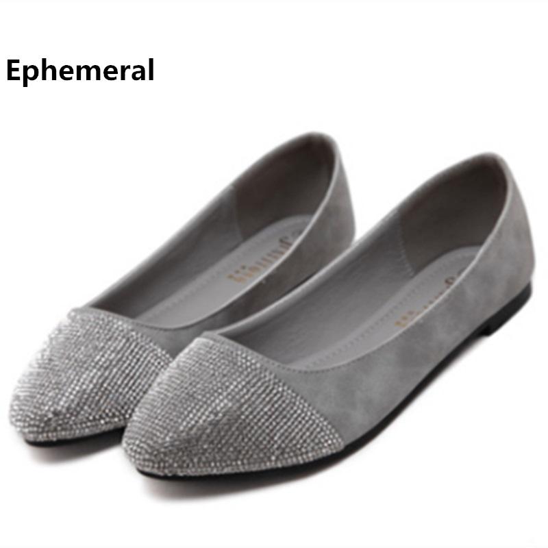Women's luxury diamond shoes flats fashion spring breathable fiber pointed toe loafers blue beige plus size 11 12 13 Ephemeral odetina fashion women pointed toe rivets loafers 2017 spring