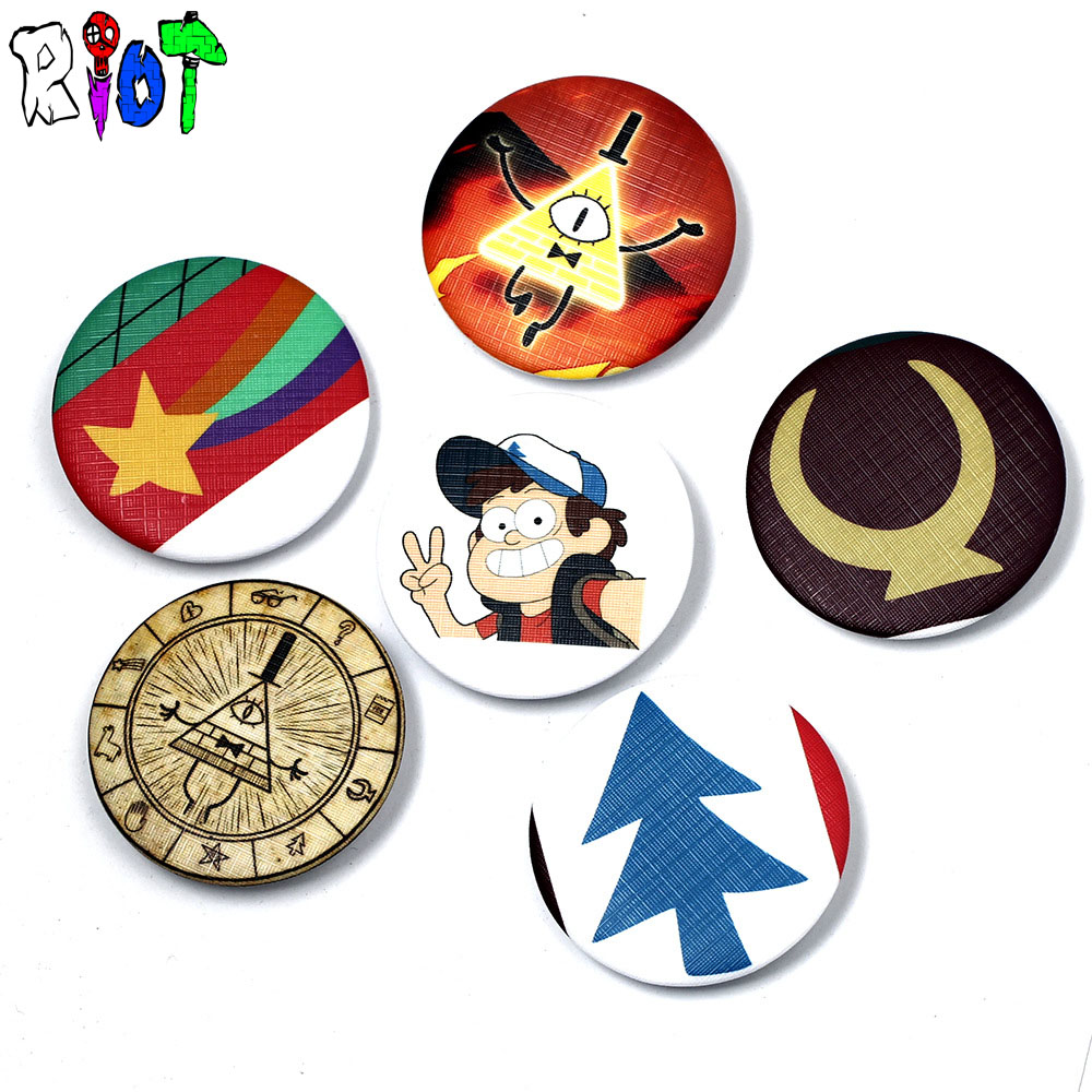 Jewelry Sets & More 6 Types Gravity Falls Bill Dipper Mabel Figure Model Pins And Broches 4.5cm Round Tinplate Badge Jewelry For Bag And Lapel Gift To Make One Feel At Ease And Energetic