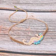 Trendy Seahorse Colorful  Charm Bracelet Women Miyuki Glass Beads Handmade Weave Rope Chain Bracelets Girl Friendship Pulsera