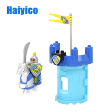 Warfare Rome Knight Armor Weapon Horse Soldier Shield Brick Set Large Particle Compatible with Duplo Building Blocks Toys Gifts
