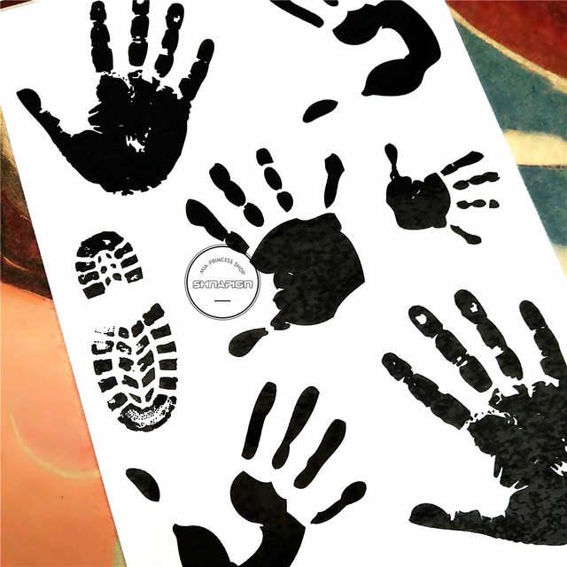 US $0 56 20% OFF|SHNAPIGN Crime Scene Palm Print Temporary Tattoo Body Art  Arm Flash Tattoo Stickers 17*10cm Waterproof Fake Henna Painless-in