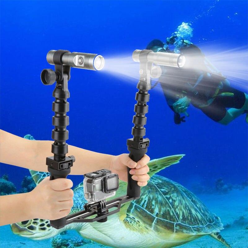 SHOOT underwater tray with video torch lights for Gopro hero 6 5 4 3 SJCAM XIAOYI YI 4K Two-Handle Diving waterproof Flashlights shoot underwater photographic lighting tray stabilizer for gopro hero 6 5 7 black sjcam xiaomi yi 4k eken go pro hero accessory