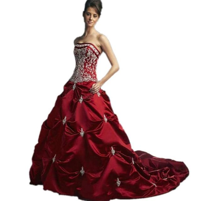 New Design Best Satin Colored Royal Blue Dark Red Wedding Dresses 2017 Ball Gown Strapless Embroidery