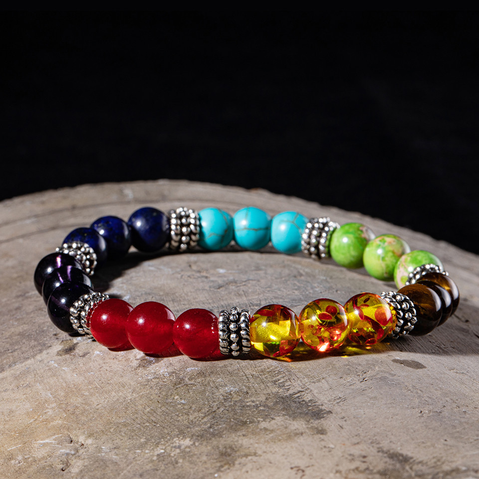 Fashion all Natural Stone Beads 7 Chakra Bracelets for Women Men Yoga Buddha Player 18 cm Tiger eyes stones Make a wish Bracelet (6)