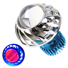 2.5 Inch 18W 2200LM Mini Aluminium Alloy LED Lens Headlight Angel Eye + Evil with Double Beam for Motorcycle Motorbike