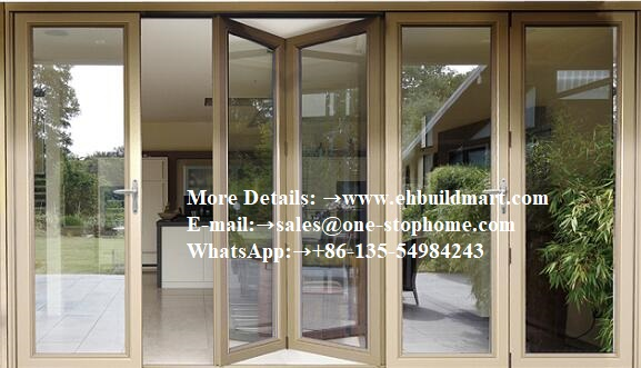 Accordion Aluminum Glass Patio Exterior Bifold Doors /bi-fold,entrance Door,black Aluminum Glass Interior Doors,indoor Doors