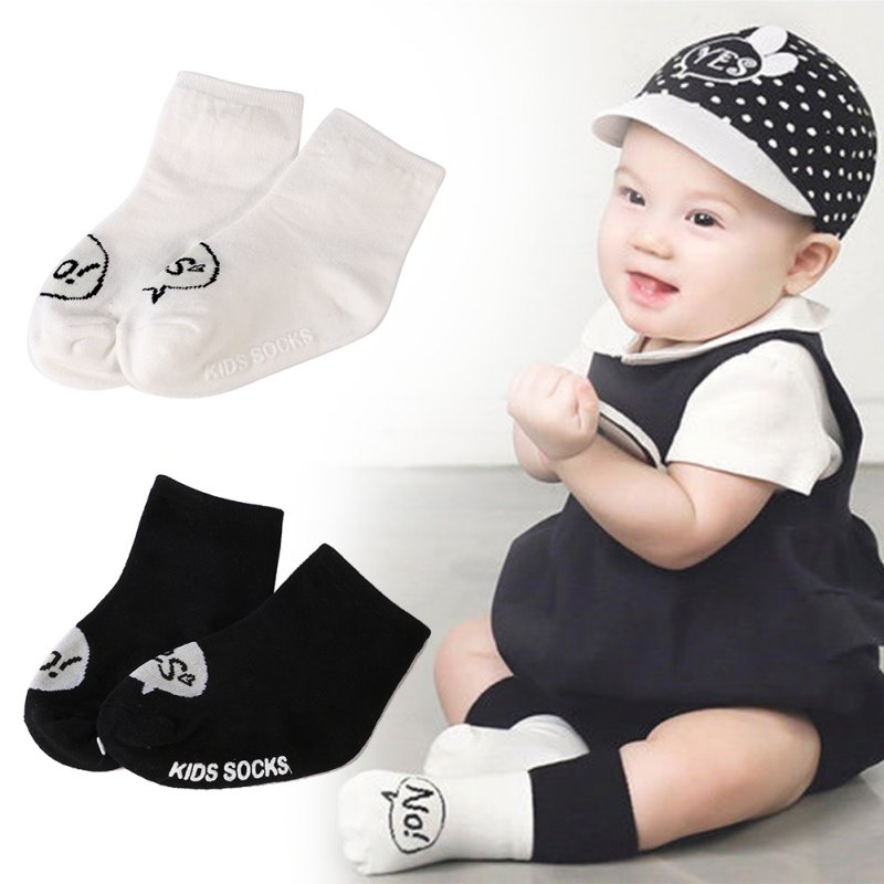 Kids Baby Socks Accessories Girls Boys Floor Anti Slip Letter Printed Cotton Sock Yes NO Cute Socks