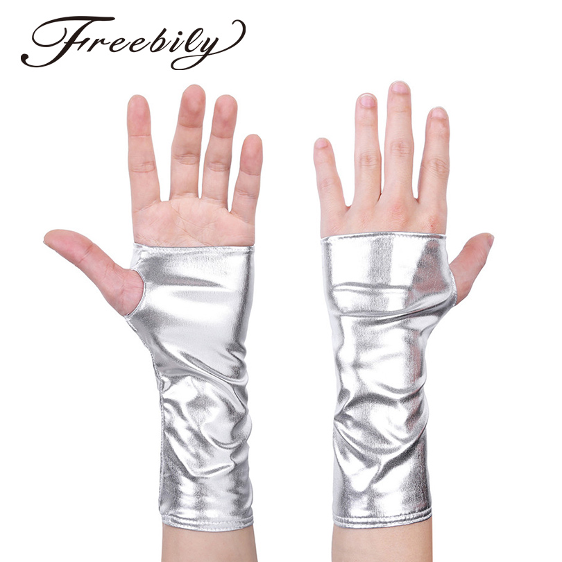 1 Pair Fashion Women Ladies Wet Look Patent Leather Mini Gloves Half Fingerless Thumb Hole Mini Gloves Mittens for Party Costume