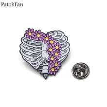 Patchfan Flowers skeleton Zinc Enamel pins Trendy medal insignia para backpack shirt clothes brooches badges for men women A1501