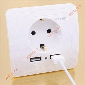 Image 5 - WILTEEXS Hot double Port USB 5V 2A chargeur mural électrique adaptateur prise ue interrupteur prise de courant Station daccueil chargeur panneau de prise