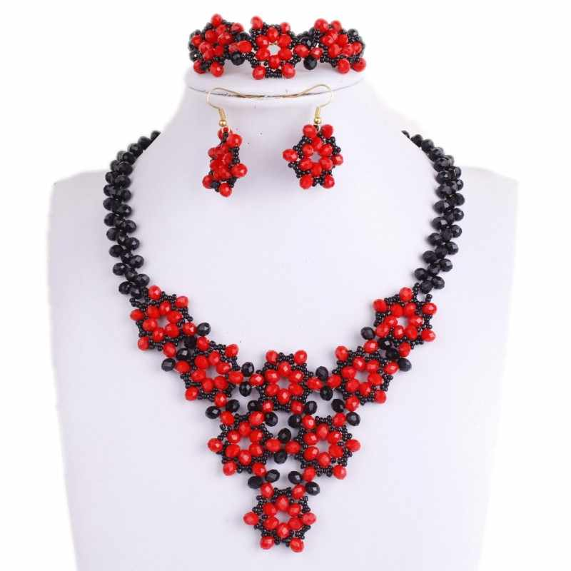 African Beads Jewellery Sets Red and Black Braid Flower Wedding Necklace Set for Brides Crystal Bridal Jewelry Set free Ship New