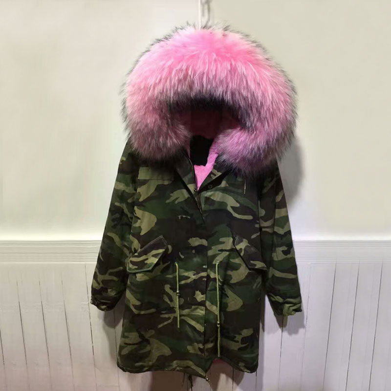 Hot Sale Pink Fur Inside Camouflage Long parka Big Raccoon Collar Women Parka Jacket