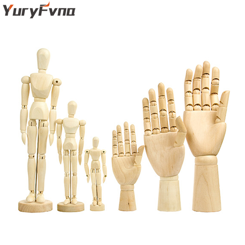 7//8//10//12// inch Left/&Right Wooden Hand Artists Manikins Wood Sculpture Sketch Manikin Wooden Body Articulated Home Decoration Crafts Figurines /& Miniatures Body 8 inch