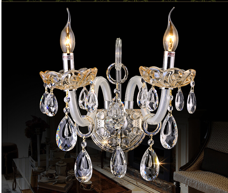 New Arrial K9 Crystal wall lamp Clear Glass wall sconces light Crystal wall bracket Lighting 1 light and 2 lights Free Shipping free shipping crystal wall lamp gold modern bed lighting fashion wall mounted lamps e14 wall sconces