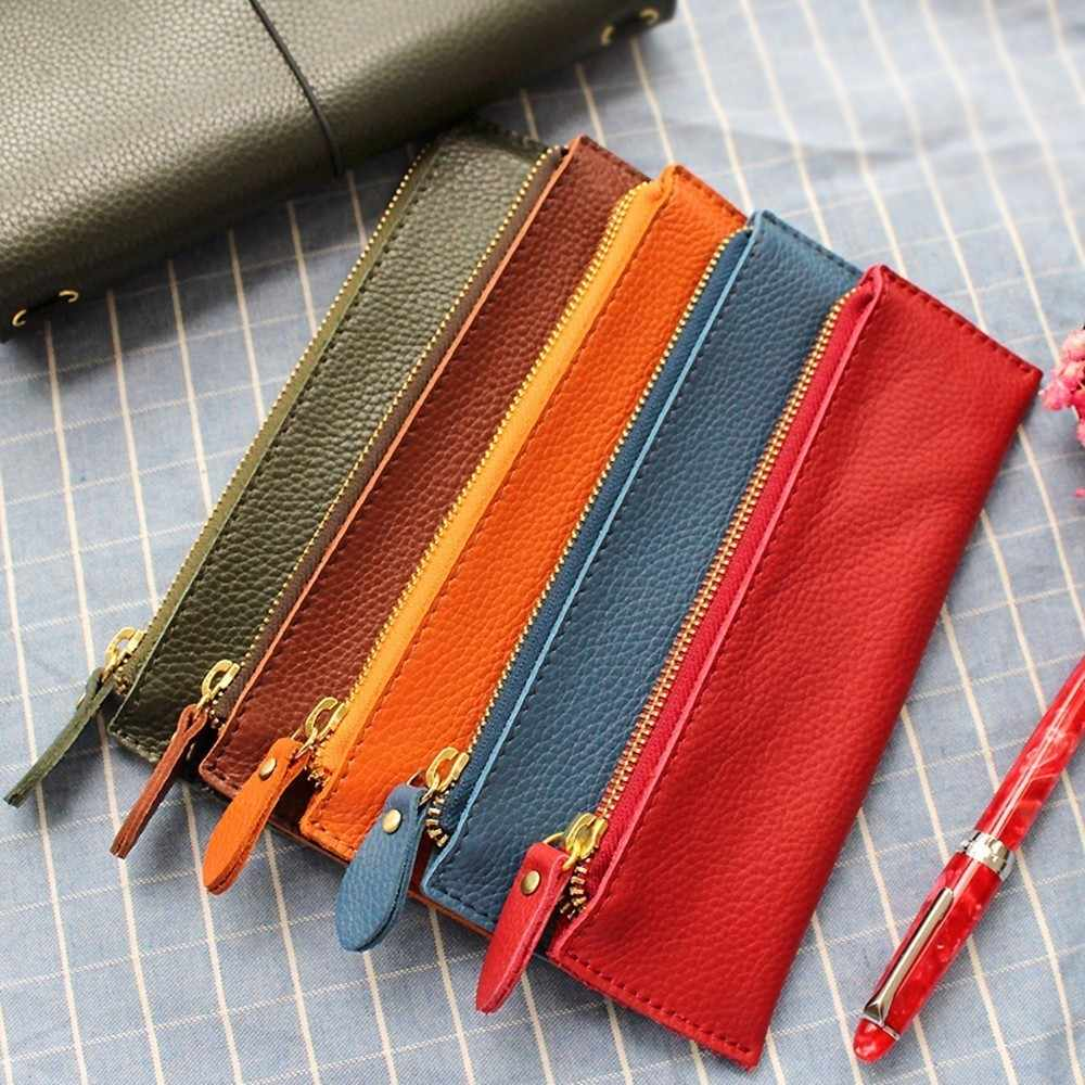 100% Genuine Leather Zipper Pen Pencil Case Bag Litchi Embossed Leather Creative School Stationary Large Capacity Accessories