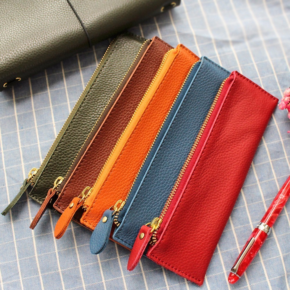 100% Genuine Leather Zipper Pen Pencil Case Bag Litchi Embossed Leather Creative School Stationary Large Capacity Accessories100% Genuine Leather Zipper Pen Pencil Case Bag Litchi Embossed Leather Creative School Stationary Large Capacity Accessories