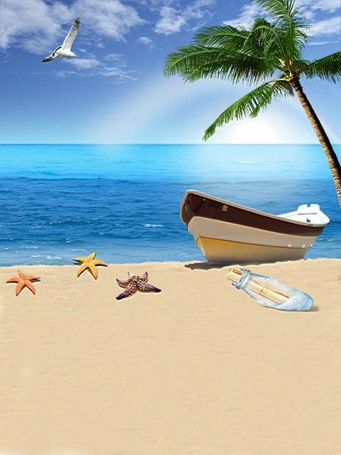 Spiaggia Di Sabbia Nave Albero Mare Panno Di Sfondo Foto Di Vinile