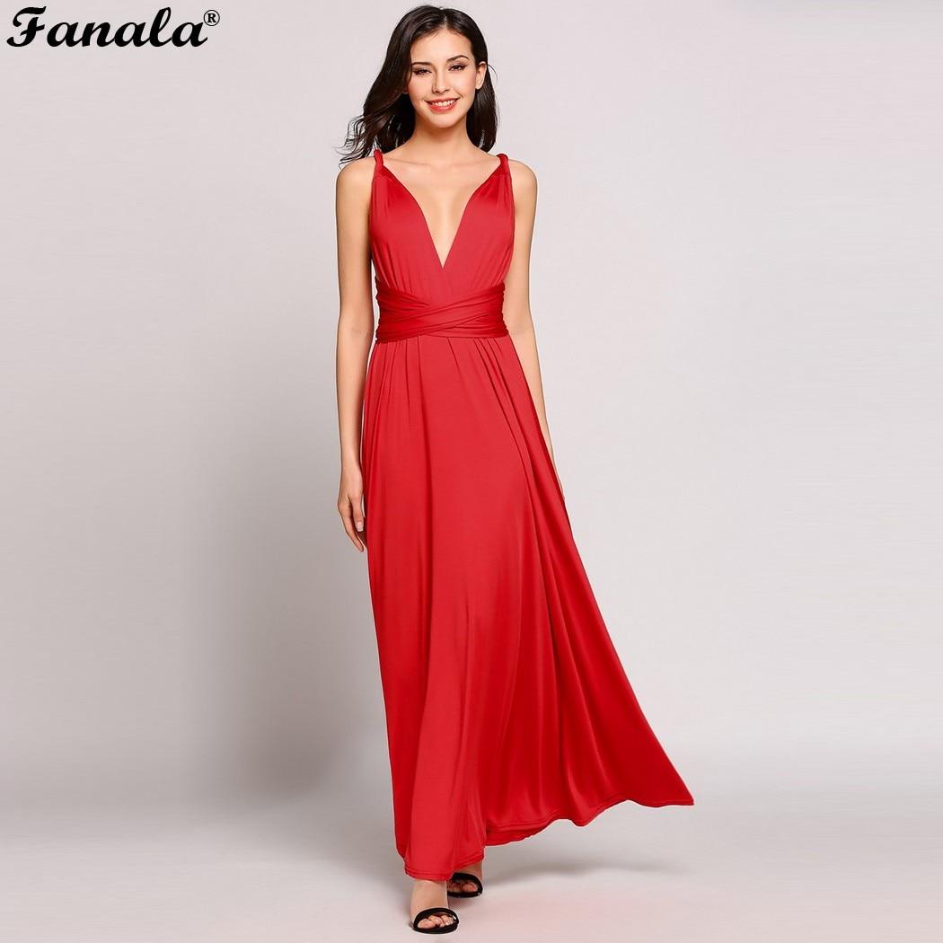 36503813b6583 FANALA Women Party Evneing Dress A Line Summer Long Dress Sexy Bandage  Dress Sleeveless Deep V Neck Solid Maxi Dress M24 -in Dresses from Women's  ...