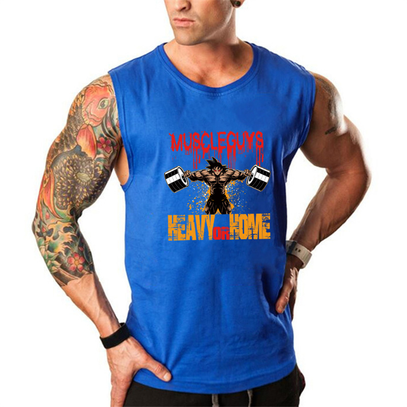 Muscleguys Dragon ball   tank     top   men cotton bodybuilding clothing Super Saiyan workout singlet fitness vest zyzz sleeveless shirt