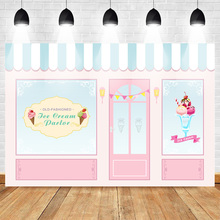 Ice Cream Parlor Shop Backdrop Pink Blue Child Birthday Photo Background Theme Party Banner Event Supplies