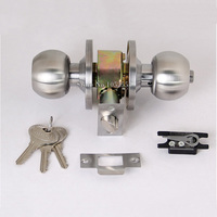 Top Designed 6sets/lot Door thickness 35 45mm Stainless steel TUBULAR LOCKSET, CYLINDRICAL KNOBSET door locks